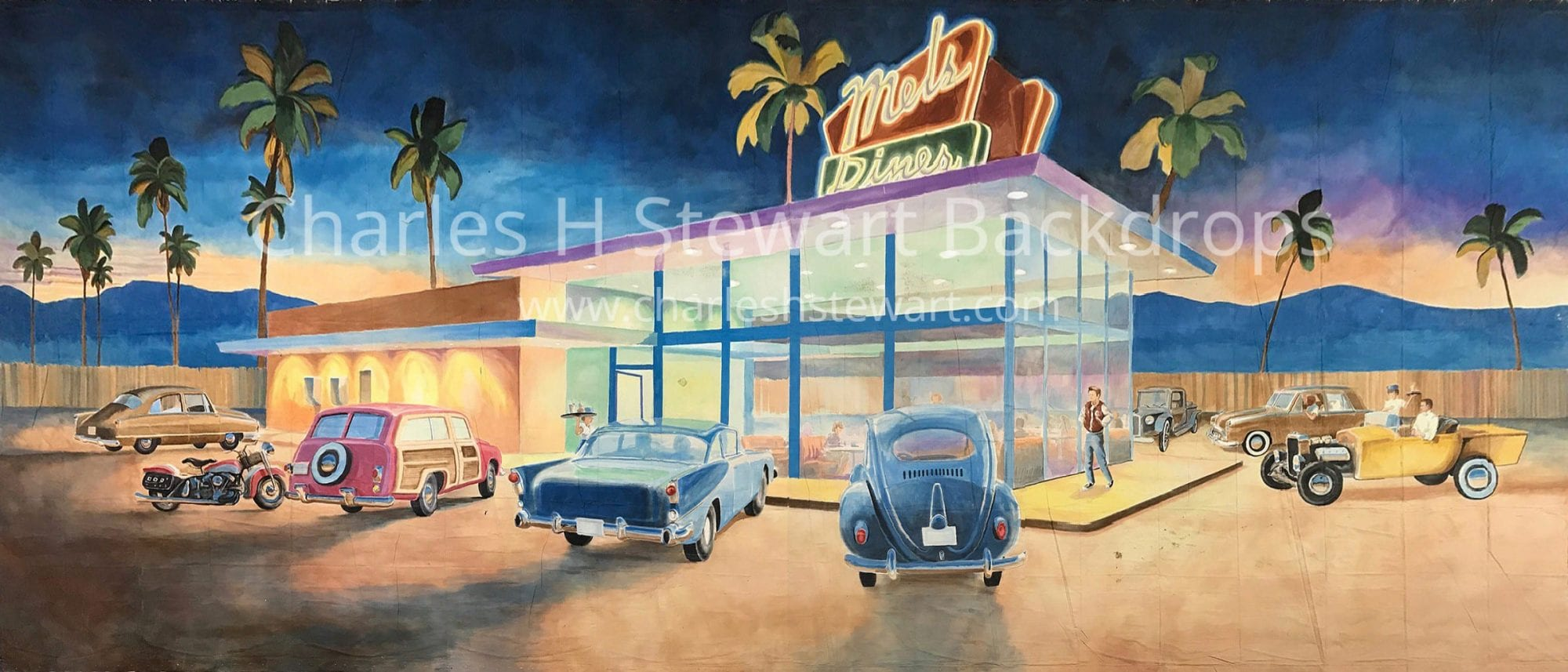 1950s Diner Exterior Backdrop - Backdrops by Charles H  Stewart