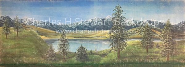 Austrian mountains and lake and trees backdrop