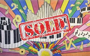 piano keys and instruments rainbow burst sold stamp