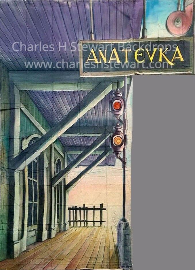 Anatevka Railroad Station Leg Fiddler Backdrop Backdrops