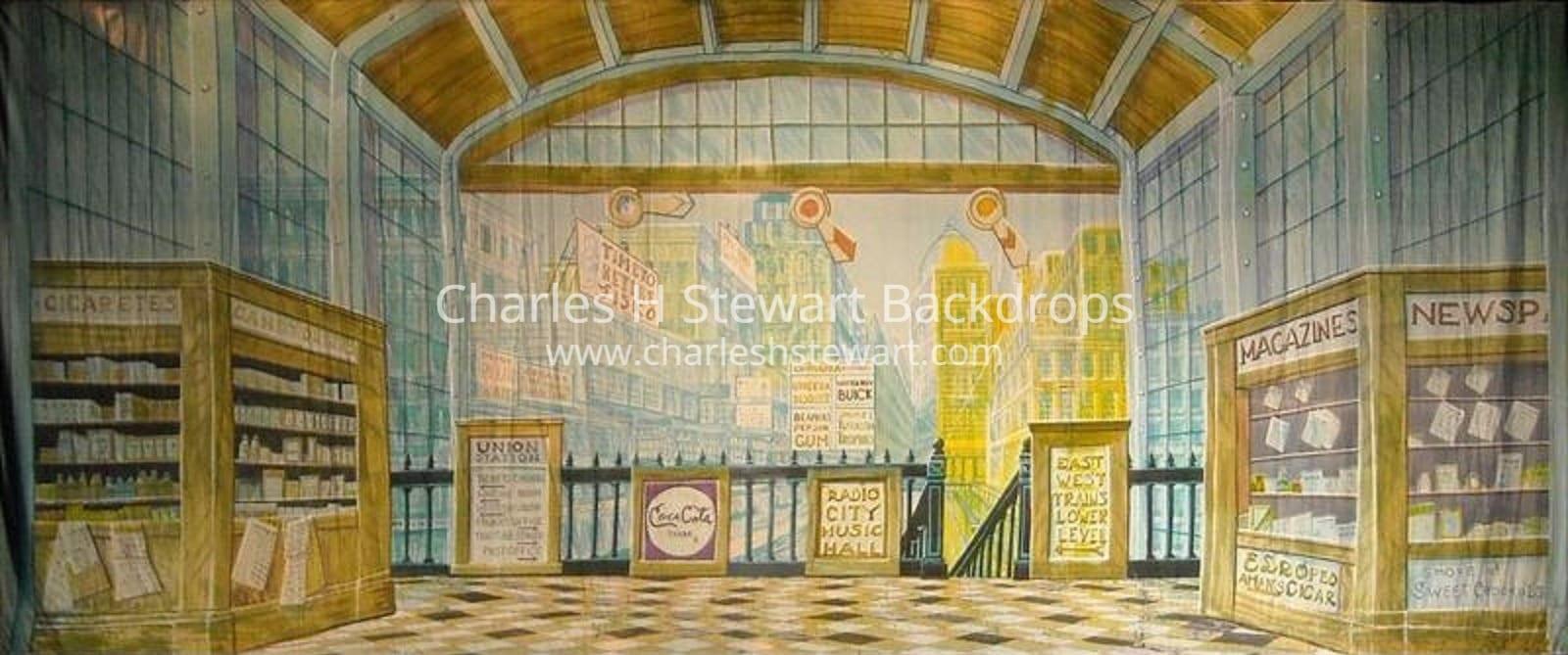 railroad station backdrop backdrops by charles h stewart. Black Bedroom Furniture Sets. Home Design Ideas