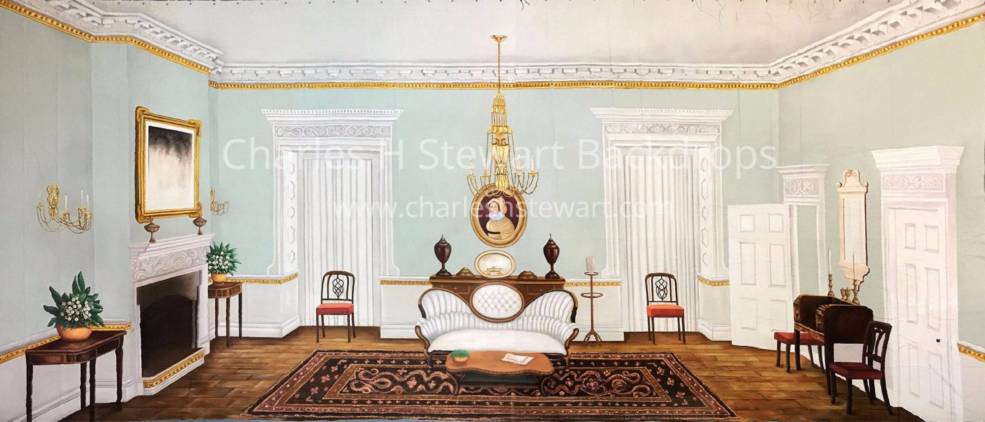 Victorian Interior Backdrop - Backdrops by Charles H. Stewart