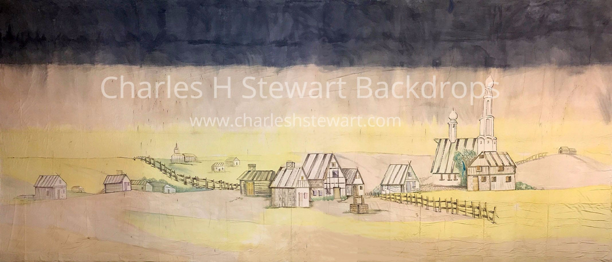 Distant Village Backdrop Backdrops By Charles H Stewart
