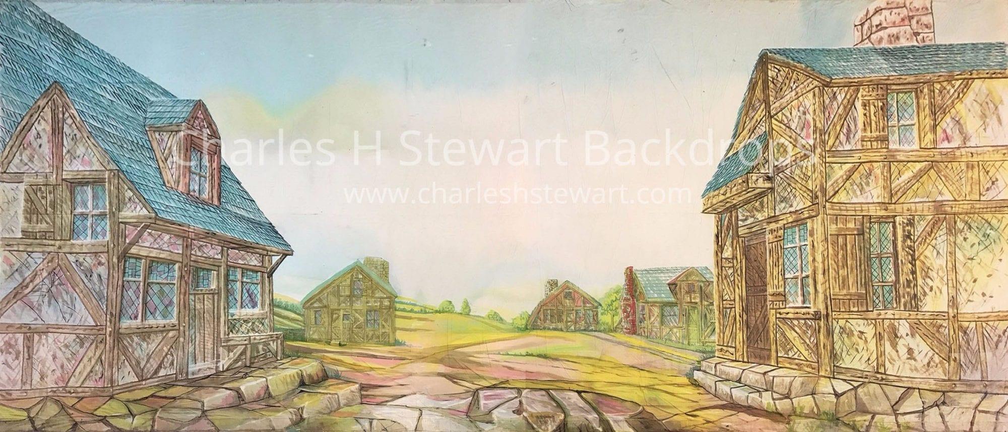 Old Village Street Backdrop Backdrops By Charles H Stewart