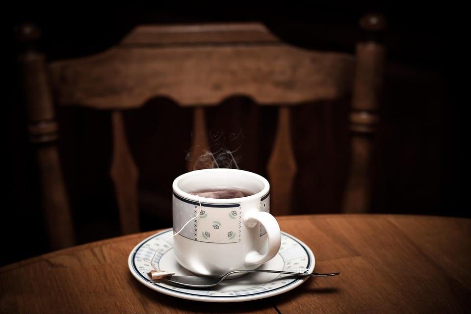 tea and saucer on table