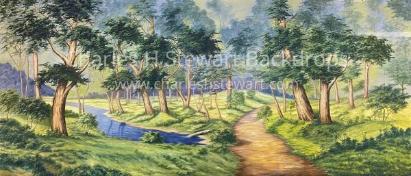 forest with dirt path and stream