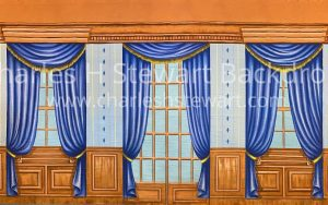 interior backdrop with long windows and blue curtains