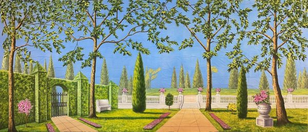 trees and tall bushes garden backdrop