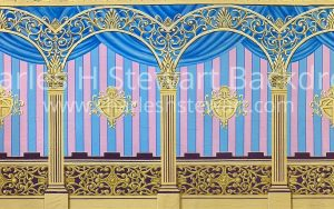 Gold arches with pink and blue stripes