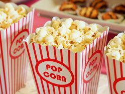 popcorn in red and white striped container